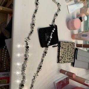 Chanel pearl long strand necklace cc logo black